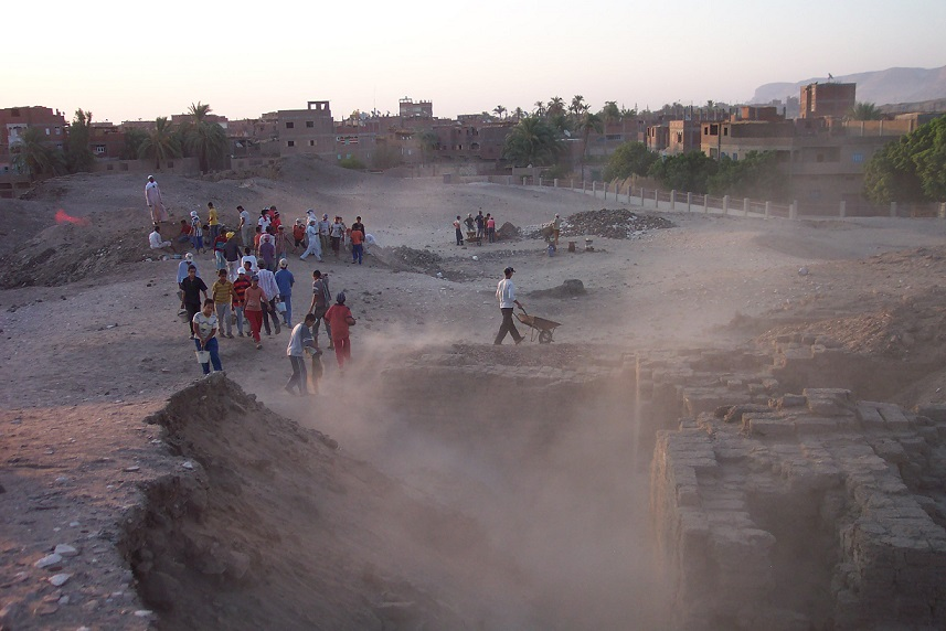 a group of people engaged in archaeological excavations