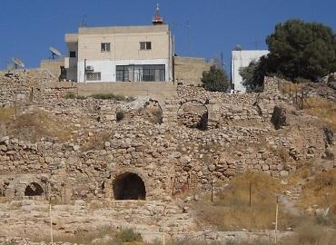 View of the exposed ruins at Tall Madaba