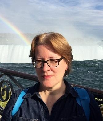 Professor Heather D. Baker in front of the Niagara Falls