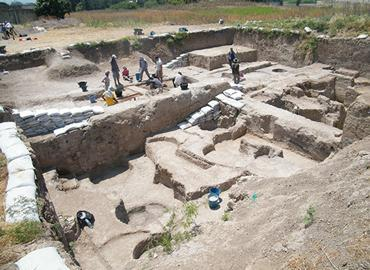 View of Early Bronze Age excavation (Field 1) at Tell Tayinat in Hatay, Turkey